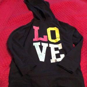 Girls Old Navy black LOVE hoodie size 10/12